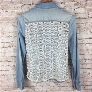 Iris Chambray Lace Button Front Shirt Blouse